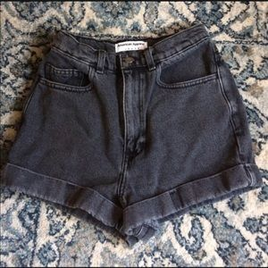 Black denim American apparel high waisted shorts
